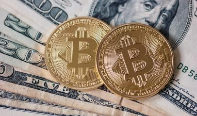 Golden Bitcoin and dollar banknotes- Stock Photo or Stock Video of rcfotostock | RC-Photo-Stock