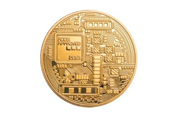 golden bitcoin backside isolated on white background- Stock Photo or Stock Video of rcfotostock | RC-Photo-Stock