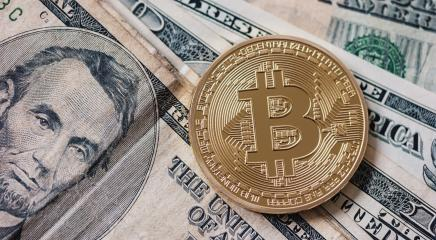 Golden bitcoin with dollar bills. conceptual photo of crypto currency.- Stock Photo or Stock Video of rcfotostock   RC-Photo-Stock