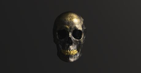 Golden black Human Skull Pirate Poison Horror Symbol Halloween Medical. Anatomy and medicine concept image. : Stock Photo or Stock Video Download rcfotostock photos, images and assets rcfotostock   RC-Photo-Stock.: