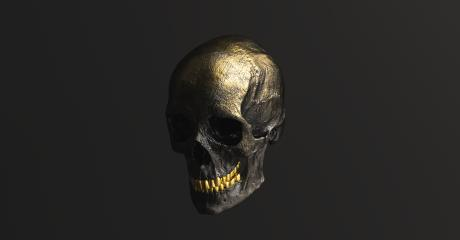 Golden black Human Skull side view Pirate Poison Horror Symbol Halloween Medical. Anatomy and medicine concept image.- Stock Photo or Stock Video of rcfotostock | RC-Photo-Stock