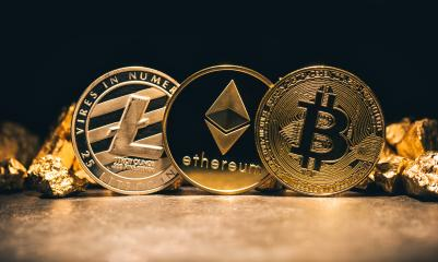 Golden cryptocurrencys Bitcoin, Ethereum, Litecoin and mound of gold - Business concept image- Stock Photo or Stock Video of rcfotostock | RC-Photo-Stock