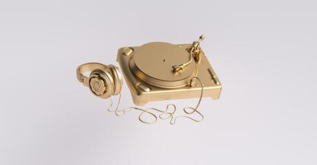 Golden DJ Deck with Headphones, Party Concept image- Stock Photo or Stock Video of rcfotostock | RC-Photo-Stock