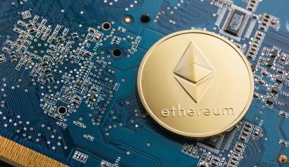 Golden ethereum coin cryptocurrency on a computer mainboard- Stock Photo or Stock Video of rcfotostock | RC-Photo-Stock