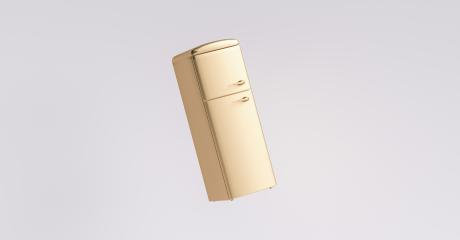 Golden fridge Freezer. Interior Concept image- Stock Photo or Stock Video of rcfotostock | RC-Photo-Stock