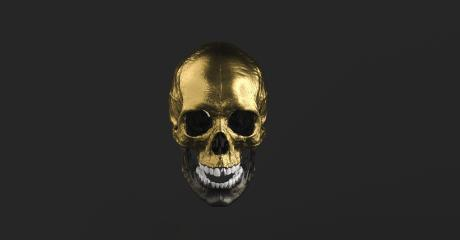 Golden Human Skull and open mouth Jaw Bone Pirate Poison Horror Symbol Halloween Medical. Anatomy and medicine concept image.- Stock Photo or Stock Video of rcfotostock   RC-Photo-Stock