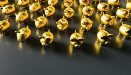 golden piggy banks as row leadership, investment and development concet image, including Copy Space- Stock Photo or Stock Video of rcfotostock | RC-Photo-Stock