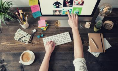 Graphic Designer working in a home office : Stock Photo or Stock Video Download rcfotostock photos, images and assets rcfotostock | RC-Photo-Stock.:
