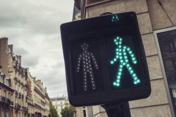 Green pedestrian traffic light in the city streets of paris- Stock Photo or Stock Video of rcfotostock | RC-Photo-Stock