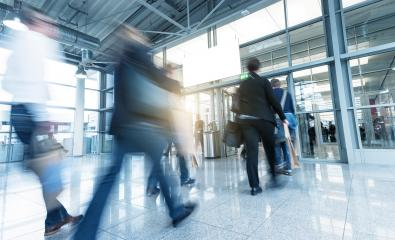 group of people in the entrance of a European Tradeshow- Stock Photo or Stock Video of rcfotostock | RC-Photo-Stock
