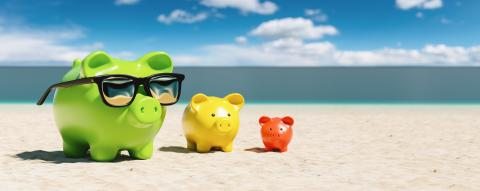 Growth chart of piggy bank at the beach during a summer vacation in the Caribbean- Stock Photo or Stock Video of rcfotostock | RC-Photo-Stock