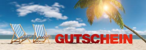 Gutschein (German for: coupon) concept with slogan on the beach with deckchairs, Palm tree and blue sky : Stock Photo or Stock Video Download rcfotostock photos, images and assets rcfotostock | RC-Photo-Stock.: