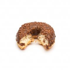 Half eaten chocolate doughnut isolated on white background- Stock Photo or Stock Video of rcfotostock | RC-Photo-Stock