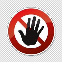 Hand forbidden sign, no entry, do not touch, dont push, off limits on checked transparent background. Vector illustration. Eps 10 vector file.- Stock Photo or Stock Video of rcfotostock | RC-Photo-Stock