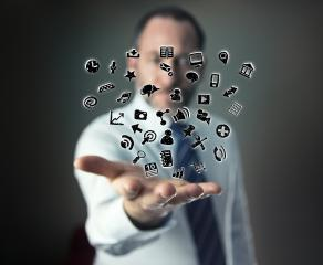 Hand with cloud of application icons- Stock Photo or Stock Video of rcfotostock | RC-Photo-Stock