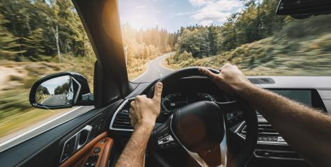 hands of car driver on steering wheel, Driving car at autumn day on a country road, having fun driving the empty highway on tour journey - POV, first person view shot- Stock Photo or Stock Video of rcfotostock | RC-Photo-Stock
