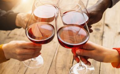 Hands toasting red wine glass and friends having fun cheering at winetasting experience - Young people enjoying time together at wine degustation - Youth and friendship concept- Stock Photo or Stock Video of rcfotostock | RC-Photo-Stock