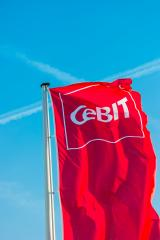 HANNOVER, GERMANY MARCH, 2017: Cebit logo on a flag against blue sky. The Cebit is the biggest trade fair for information technology in the world.- Stock Photo or Stock Video of rcfotostock | RC-Photo-Stock