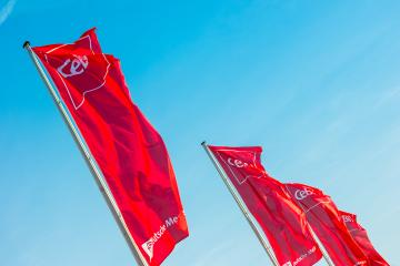 HANNOVER, GERMANY MARCH, 2017: Cebit logo on flags against blue sky. The Cebit is the biggest trade fair for information technology in the world.- Stock Photo or Stock Video of rcfotostock | RC-Photo-Stock