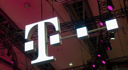 HANNOVER, GERMANY MARCH, 2017: The Logo of Deutsche Telekom on a Fair. There are around 750 so called