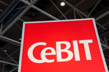 HANNOVER, GERMANY MARCH, 2017: The logo of the fair Cebit. The Cebit is the biggest trade fair for information technology in the world.- Stock Photo or Stock Video of rcfotostock | RC-Photo-Stock