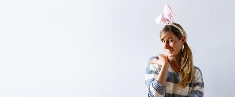 Happy Easter holiday celebration spring concept. Young woman wearing bunny ears isolated on white or gray background. Preparation for holiday. Girl looking happy and excited, with copyspace for text : Stock Photo or Stock Video Download rcfotostock photos, images and assets rcfotostock | RC-Photo-Stock.: