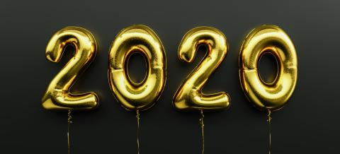 Happy New 2020 celebration. Golden foil balloons numeral 2020 on black background- Stock Photo or Stock Video of rcfotostock | RC-Photo-Stock