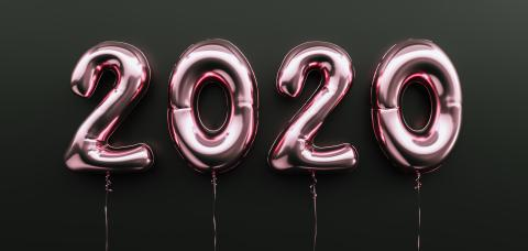 Happy New 2020 celebration. pink metallic foil balloons numeral 2020 on black background- Stock Photo or Stock Video of rcfotostock | RC-Photo-Stock