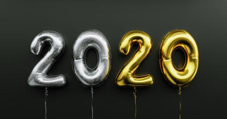 Happy New 2020 celebration. Silver and Golden foil balloons numeral 2020 on black background- Stock Photo or Stock Video of rcfotostock | RC-Photo-Stock