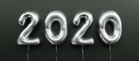 Happy New 2020 celebration. Silver foil balloons numeral 2020 on black background- Stock Photo or Stock Video of rcfotostock | RC-Photo-Stock