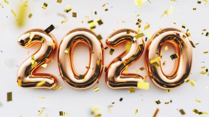 Happy New 2020 Year. Holiday copper metallic numbers 2020 and confetti on white background- Stock Photo or Stock Video of rcfotostock | RC-Photo-Stock