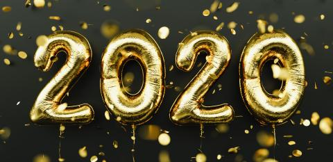 Happy New 2020 Year. Holiday gold metallic balloon numbers 2020 and falling confetti on dark background- Stock Photo or Stock Video of rcfotostock | RC-Photo-Stock
