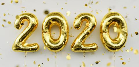 Happy New 2020 Year. Holiday gold metallic balloon numbers 2020 and falling confetti on white background- Stock Photo or Stock Video of rcfotostock | RC-Photo-Stock