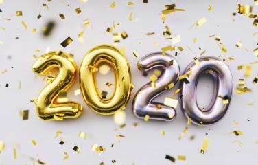Happy New 2020 Year. Holiday golden and silver metallic numbers 2020 and confetti on white background- Stock Photo or Stock Video of rcfotostock | RC-Photo-Stock