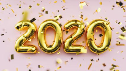 Happy New 2020 Year. Holiday golden metallic numbers 2020 and confetti on pink background- Stock Photo or Stock Video of rcfotostock | RC-Photo-Stock