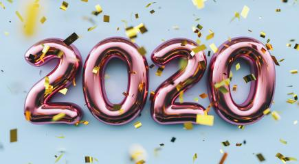 Happy New 2020 Year. Holiday pink metallic numbers 2020 and confetti on blue background- Stock Photo or Stock Video of rcfotostock | RC-Photo-Stock
