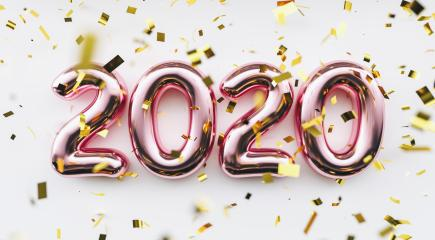 Happy New 2020 Year. Holiday pink metallic numbers 2020 and confetti on white background- Stock Photo or Stock Video of rcfotostock | RC-Photo-Stock