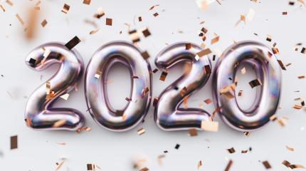 Happy New 2020 Year. Holiday pink silver metallic numbers 2020 and confetti on white background- Stock Photo or Stock Video of rcfotostock | RC-Photo-Stock
