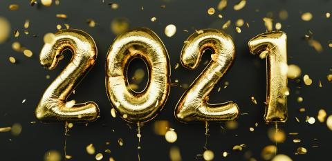 Happy New 2021 Year. Holiday gold metallic balloon numbers 2021 and falling confetti on dark background : Stock Photo or Stock Video Download rcfotostock photos, images and assets rcfotostock | RC-Photo-Stock.: