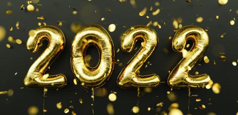 Happy New 2022 Year. 2022 golden foil balloons and falling confetti on black background. Gold helium balloon numbers. Festive poster or banner concept image : Stock Photo or Stock Video Download rcfotostock photos, images and assets rcfotostock | RC-Photo-Stock.: