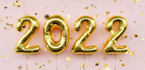Happy New 2022 Year. 2022 golden foil balloons and falling confetti on pink background. Gold helium balloon numbers. Festive poster or banner concept image : Stock Photo or Stock Video Download rcfotostock photos, images and assets rcfotostock | RC-Photo-Stock.: