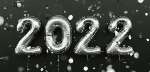 Happy New 2022 Year. 2022 silver foil balloons and falling confetti on black background. Silver helium balloon numbers. Festive poster or banner concept image : Stock Photo or Stock Video Download rcfotostock photos, images and assets rcfotostock | RC-Photo-Stock.: