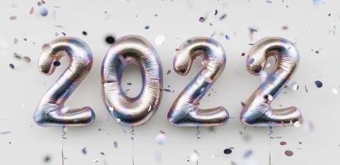 Happy New 2022 Year. 2022 tarnishing foil balloons and falling confetti on white background. Tarnish helium balloon numbers. Festive poster or banner concept image : Stock Photo or Stock Video Download rcfotostock photos, images and assets rcfotostock | RC-Photo-Stock.: