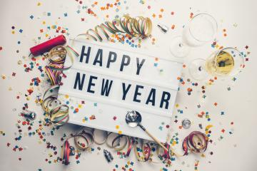 Happy New year displayed on a vintage lightbox with decoration for New Year : Stock Photo or Stock Video Download rcfotostock photos, images and assets rcfotostock | RC-Photo-Stock.: