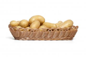 Harvested potatoes in a basket  on white background : Stock Photo or Stock Video Download rcfotostock photos, images and assets rcfotostock | RC-Photo-Stock.: