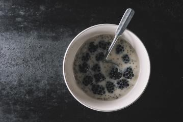 Healthy Chia seeds Blackberries in a bowl, breakfast concept image- Stock Photo or Stock Video of rcfotostock | RC-Photo-Stock