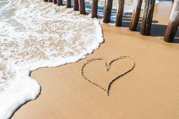 Heart drawn on the sand in Zeeland, Holland : Stock Photo or Stock Video Download rcfotostock photos, images and assets rcfotostock | RC-Photo-Stock.: