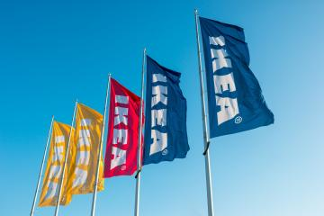 HEERLEN, NETHERLANDS FEBRUARY, 2017: IKEA flags against sky at the IKEA Store. IKEA is the world's largest furniture retailer and sells ready to assemble furniture. Founded in Sweden in 1943. : Stock Photo or Stock Video Download rcfotostock photos, images and assets rcfotostock | RC-Photo-Stock.: