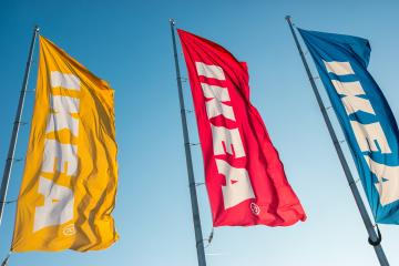 HEERLEN, NETHERLANDS FEBRUARY, 2017: IKEA flags against sky at the IKEA Store. IKEA is the world's largest furniture retailer and sells ready to assemble furniture. Founded in Sweden in 1943.- Stock Photo or Stock Video of rcfotostock | RC-Photo-Stock