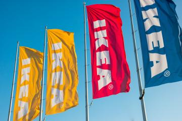 HEERLEN, NETHERLANDS FEBRUARY, 2017: IKEA flags at the IKEA Store. IKEA is the world's largest furniture retailer and sells ready to assemble furniture. Founded in Sweden in 1943.- Stock Photo or Stock Video of rcfotostock | RC-Photo-Stock